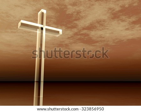 Concept conceptual glass cross or religion symbol silhouette on water landscape over a sunset or sunrise sky with sunlight clouds background for God, Christ, Christianity, religious faith Jesus belief - stock photo