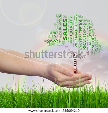 Concept conceptual green tree word cloud tagcloud in man or woman hand on rainbow sky grass background metaphor to business, trend, media, focus, market, value, product, advertising, sale or corporate