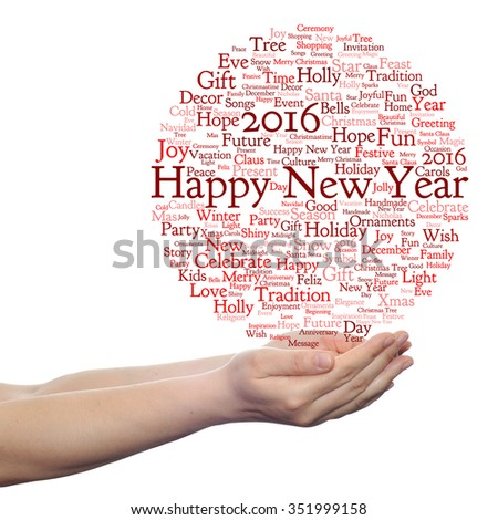 Concept conceptual Happy New Year 2016 or Christmas abstract holiday red word cloud isolated metaphor to happy, celebrate, eve, festive, future, joy, december, wish, jolly or santa - stock photo