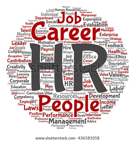 Concept conceptual hr or human resources management abstract round word cloud isolated on background, metaphor to workplace, development, career, success, hiring, competence, goal, corporate or job