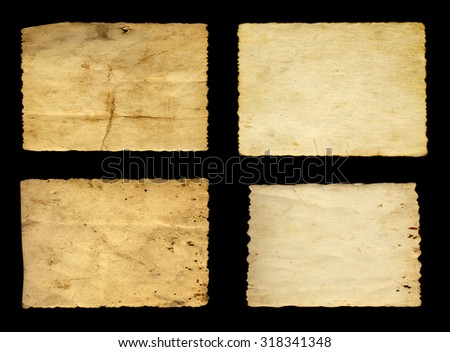 Concept conceptual old vintage paper backgrounds set or collection isolated on black background, ideal for antique, grunge, texture, retro, aged, ancient, dirty, frame, manuscript or material designs