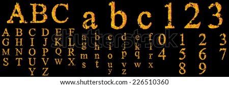 Concept conceptual red burning fire fonts isolated on black background, set, group or collection letters in yellow orange flames or glow, blazing, hot, heat, fiery, ignite, magic, fervent or grungy - stock photo