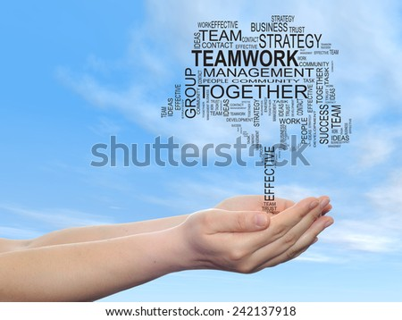Concept conceptual text word cloud on man hand, tagcloud on blue sky  background, metaphor to business, team, teamwork, management, effective, success, communication, company, cooperation or symbol - stock photo
