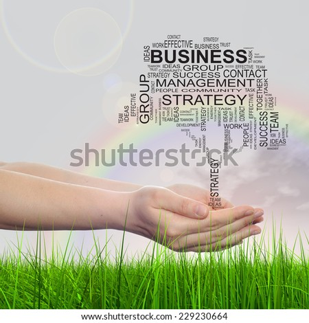 Concept conceptual text word cloud on man hand, tagcloud on rainbow sky background and grass, metaphor to business, team, teamwork, management, effective, success, communication, company or group - stock photo
