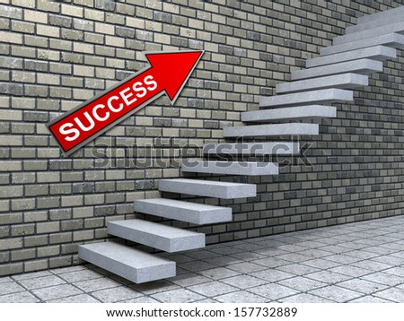 Concept Conceptual White Stone Concrete Stair Or Steps Near Brick Wall  Background With Stone, Metaphor