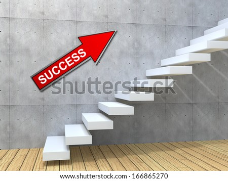 Concept conceptual white stone concrete stair or steps near brick wall background with wood, metaphor to architecture, success, climb, business, staircase, stairway, rise, achievement, growth future