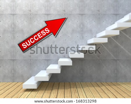 Concept conceptual white stone concrete stair steps near brick wall background with wood floor, metaphor to architecture, success, climb, business, staircase, stairway, rise, achievemen, growth future