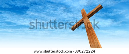 Concept conceptual wood cross or religion symbol shape over a blue sky with clouds background banner metaphor to God, Christ, Christianity, religious, faith, holy, spiritual, Jesus, belief resurection