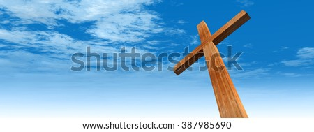 Concept conceptual wood cross, religion symbol shape over a blue sky with clouds background banner metaphor to God, Christ, Christianity, religious, faith, holy, spiritual, Jesus, belief, resurection
