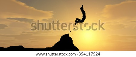 Concept conceptual young 3D man or businessman silhouette jump happy from cliff over  gap sunset sunrise sky background banner as metaphor to freedom, nature, mountain, success, free, joy, health risk