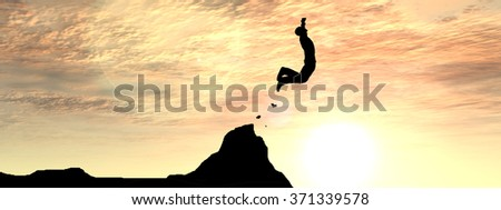 Concept conceptual young 3D man or businessman silhouette jump happy from cliff over gap sunset sunrise sky background banner  as metaphor to freedom, nature, mountain, success, free, joy, health risk - stock photo