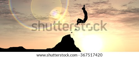 Concept conceptual young 3D man or businessman silhouette jump happy from cliff over  gap sunset or sunrise sky background banner metaphor to freedom, nature, mountain, success, free, joy, health risk - stock photo