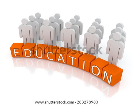 "Concept containing figures and blocks containing the text: ""Education"""
