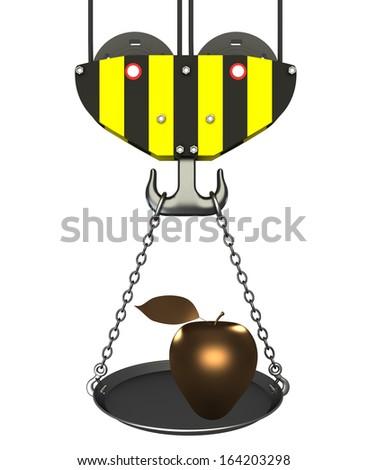 Concept. crane hook with bowl and apple. Isolated. white background. 3D - stock photo