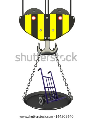Concept. crane hook with bowl and Hand truck. Isolated. white background. 3D - stock photo