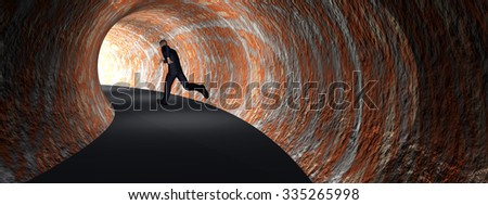 Concept 3D business man, dark road tunnel with bright light at the end background banner metaphor to hope, freedom, exit, life, faith, speed, dream, success, vision, future, fear or salvation - stock photo