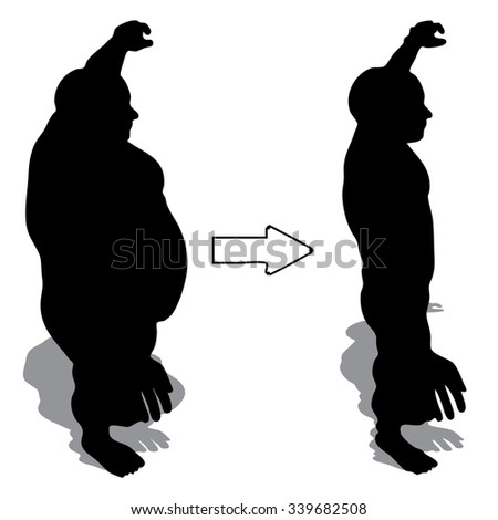 Concept 3D fat overweight vs slim fit diet with muscles young man silhouette isolated on white background for weight loss, body, fitness, fatness, obesity, health, healthy, male, dieting or shape - stock photo