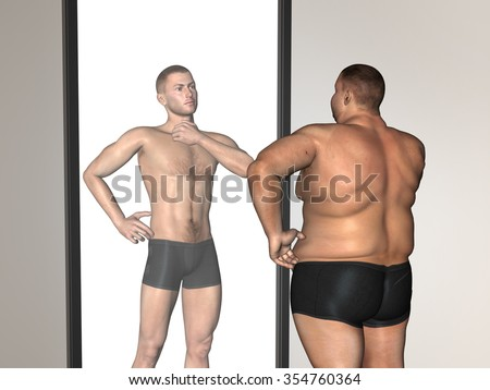 Concept 3D fat overweight vs slim fit with muscles young man on diet reflecting in a mirror for business, trend, media, focus, market, value, product, advertising or customer or corporate wordcloud - stock photo