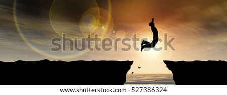 Concept 3D illustration young man or businessman silhouette jump happy from cliff over water gap sunset or sunrise sky background banner for freedom, nature, mountain, success, free, joy, health risk