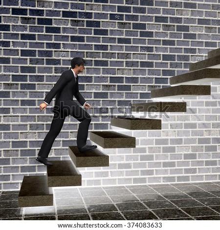concept 3 d man businessman climbing on stock illustration 374083633