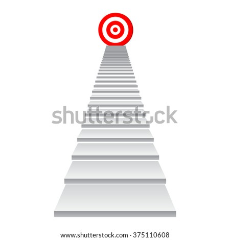 Concept 3d stair climbing to leader chief promotion on top red target isolated on white background for success, climb, business, rise, achievement, growth, job, career leadership education goal future - stock photo