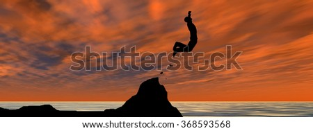 Concept 3D young man or businessman silhouette jump happy from cliff over water gap sunset or sunrise sky background banner metaphor to freedom, nature, mountain, success, free, joy, health risk - stock photo