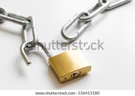 concept data protection metal chain on white background
