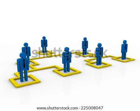 Concept, depicting employees at different tiers; great for business and organization structure concepts