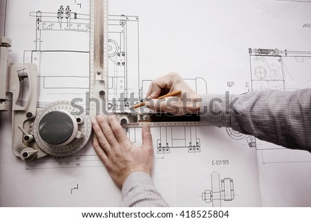 concept designer drawing engineer - stock photo