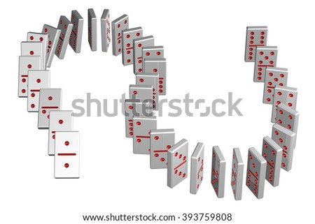 Concept : domino effect, isolated on white background. - stock photo