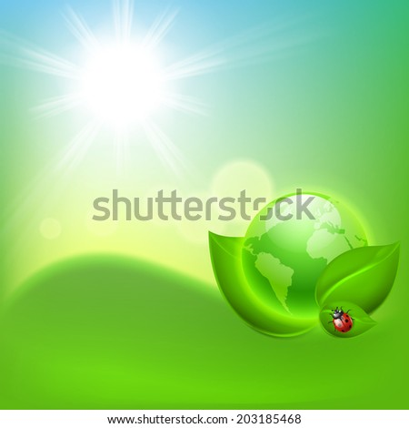 Concept ecological background with the globe - stock photo