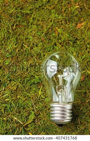 Concept ecology. Light bulb on green natural moss with copy space - stock photo