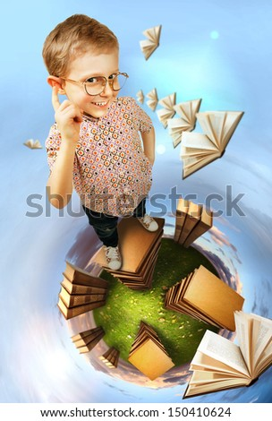 Concept education image. Clever little boy stands books planet - stock photo