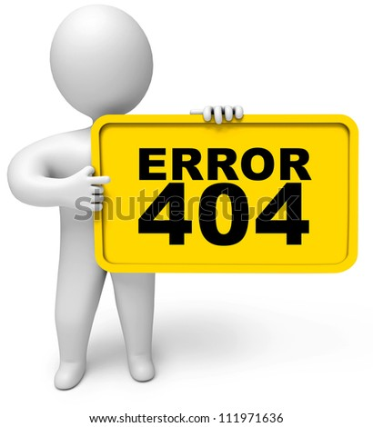 Concept 404 error on white background. Page not found. 3d render