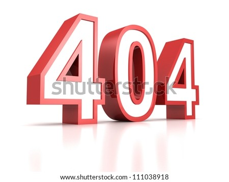 concept 404 error red text on white background - stock photo