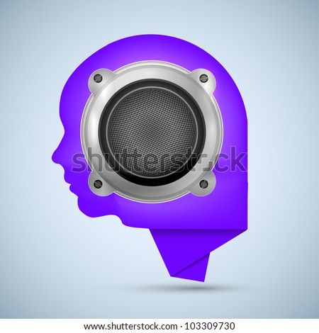 concept face and bubble speech with speaker - stock photo