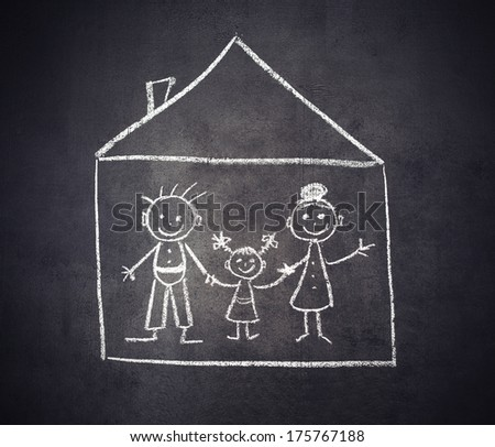 concept. family and home are drawn with chalk on a blackboard - stock photo