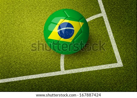 Concept for Brazil 2014 football championship. A soccer ball with Brazil flag on it on grass field.  (org. size: 3000x2000px)  - stock photo