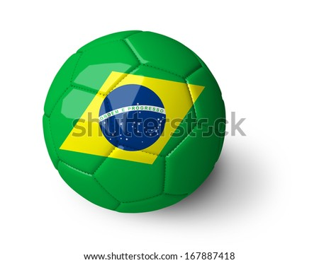 Concept for Brazil 2014 football championship. Soccer ball with Brazil flag on it isolated on white background. (org. size: 3200x2500px)  - stock photo