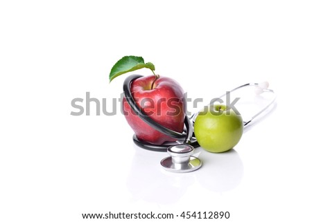 Concept for diet, healthcare, nutrition or medical insurance on white background - stock photo
