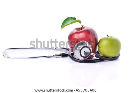 Concept for diet, healthcare, nutrition or medical insurance. Over white background - stock photo