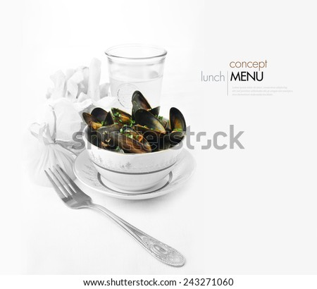 Concept for different style of menu. Scottish Mussels in tomato and chorizo sauce in full colour with fries and a beer in greyscale against a white background. Perfect pub menu food image. Copy space. - stock photo