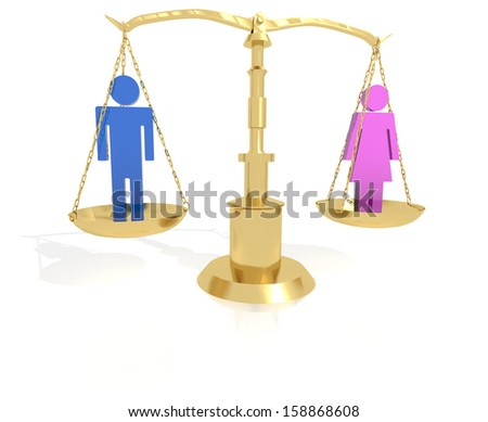 Concept for equality for genders a man and woman on scales - stock photo