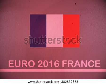 Concept for Euro 2016 France football championship.France flag paint on pink wall - stock photo