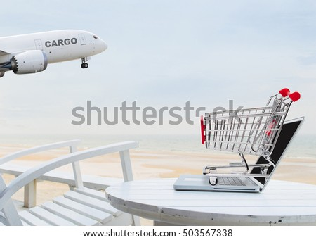 Concept for fast shopping delivery with laptop on the beach