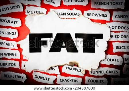 Concept for FAT with torn newspaper. - stock photo