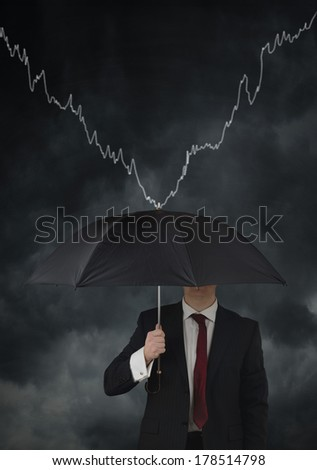 concept for financial protection until recovery, man holding umbrella
