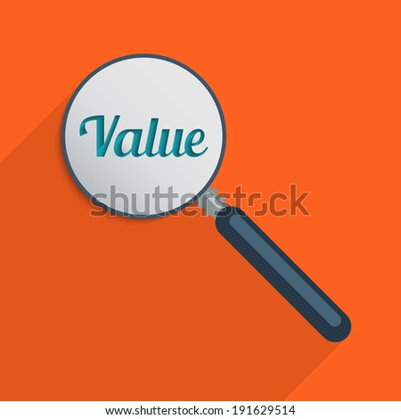 Concept for find your values and world of finance. Flat design illustration. - stock photo