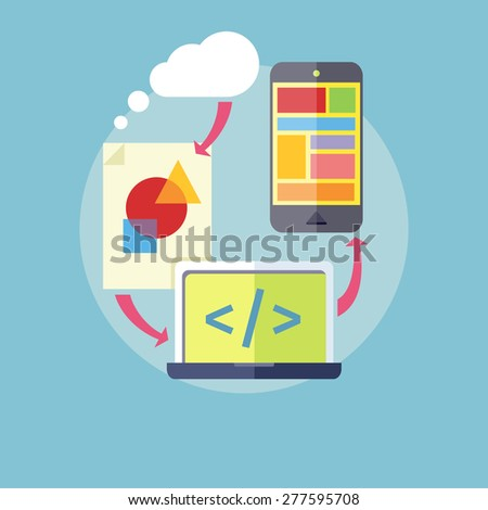 Concept for mobile application development, teamwork, brainstorm, cooperation working on a smartphone navigation, screen interface, social media, services. Page with code. Raster version  - stock photo