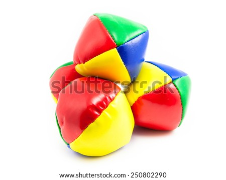 Concept for Multitasking Challenges, Set of Colorful Juggling Balls on White Background - stock photo